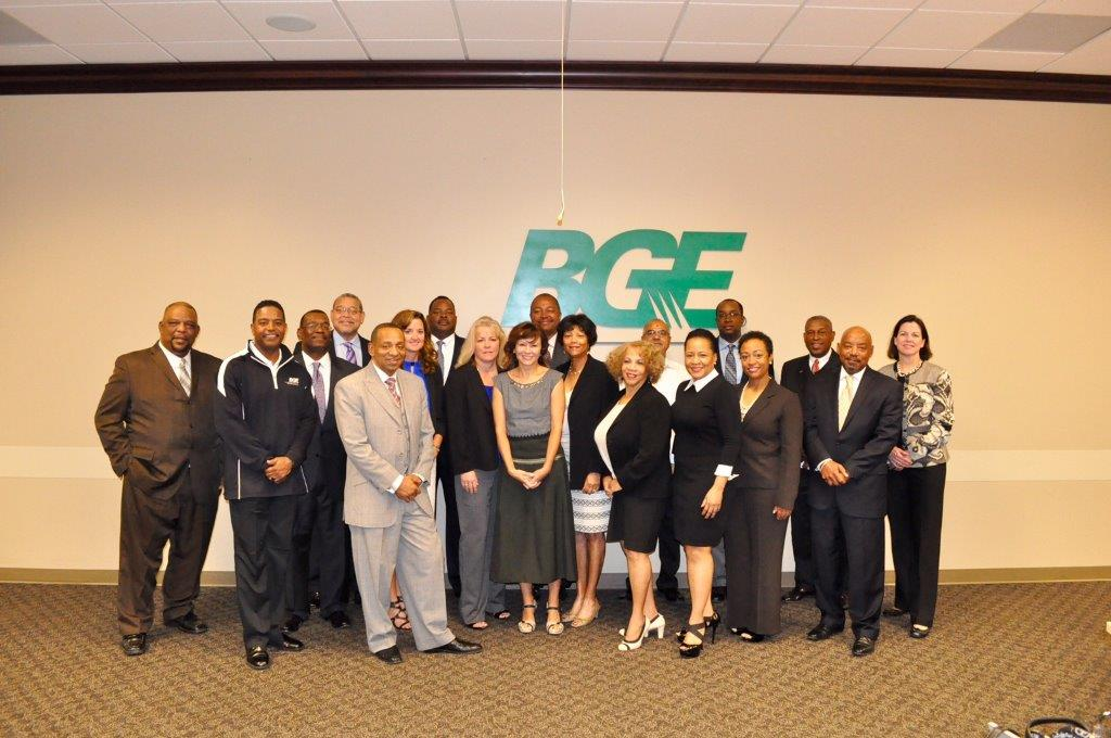 Group of people in front of BGE logo