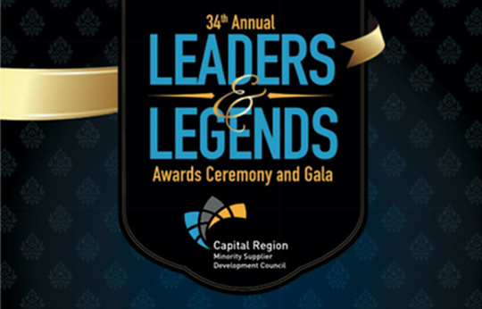Logo image of the 34th annual Leaders and Legends Awards Ceremony and Gala